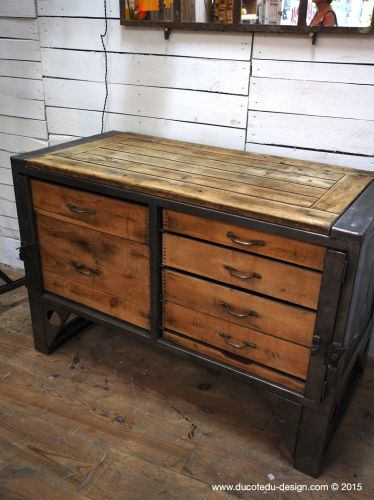 Grand Etabli Industriel Bureau Metal Et Bois Metal And Wood