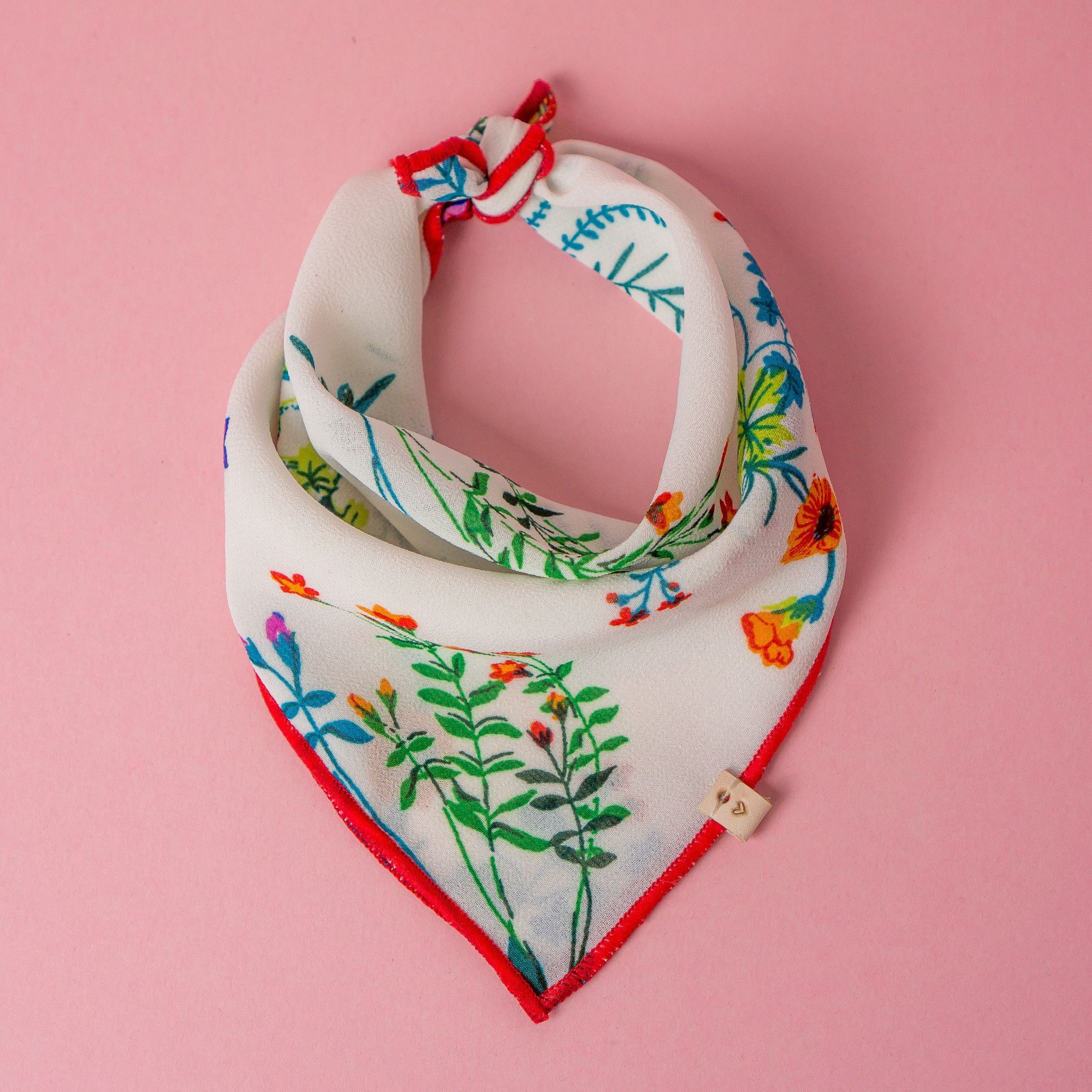 CORA - Ivory Red Floral - Luxury Dog Scarf