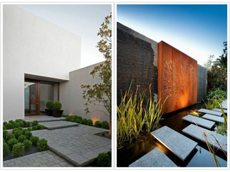 Senderos estanque agua muro acero jard n pinterest - Disenos de jardines modernos ...