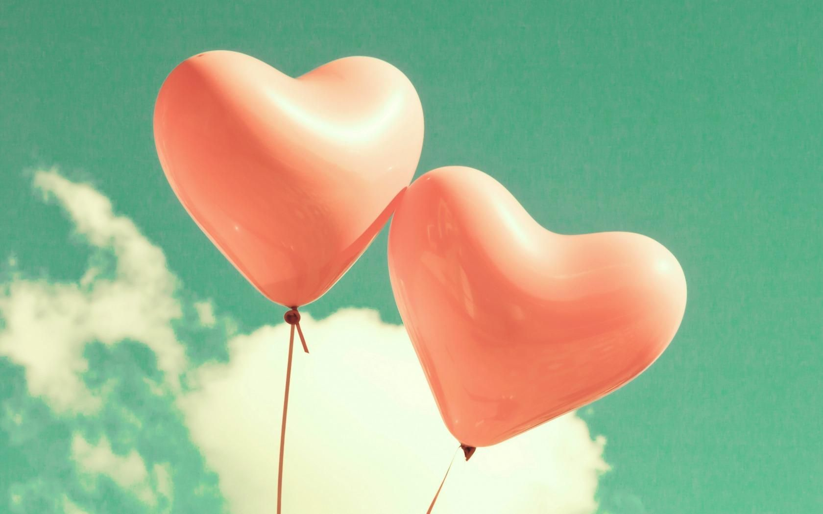 Two Red Heart Shaped BalloonsTwo Pink Balloons