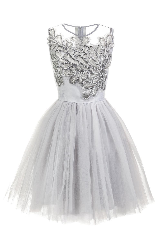 Sukienka Tiulowa Z Aplikacjami Szara Dresses Flower Girl Dresses Formal Dresses