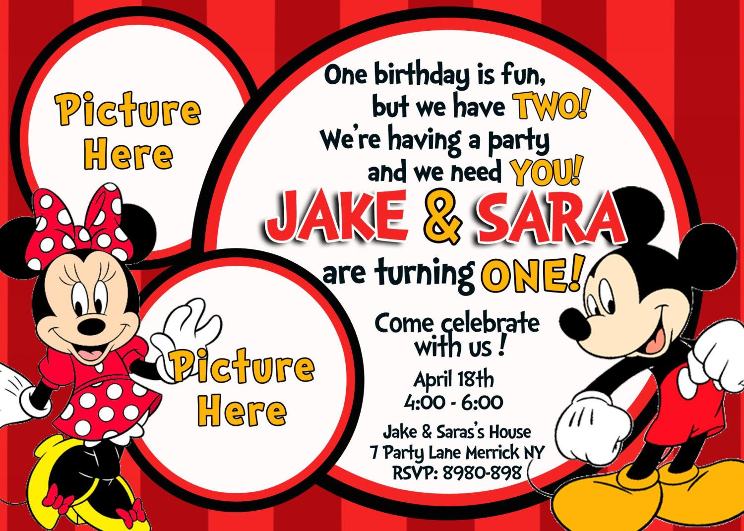 Mickey & Minnie Mouse Birthday Invitation. | BD - Mickey & Minnie ...