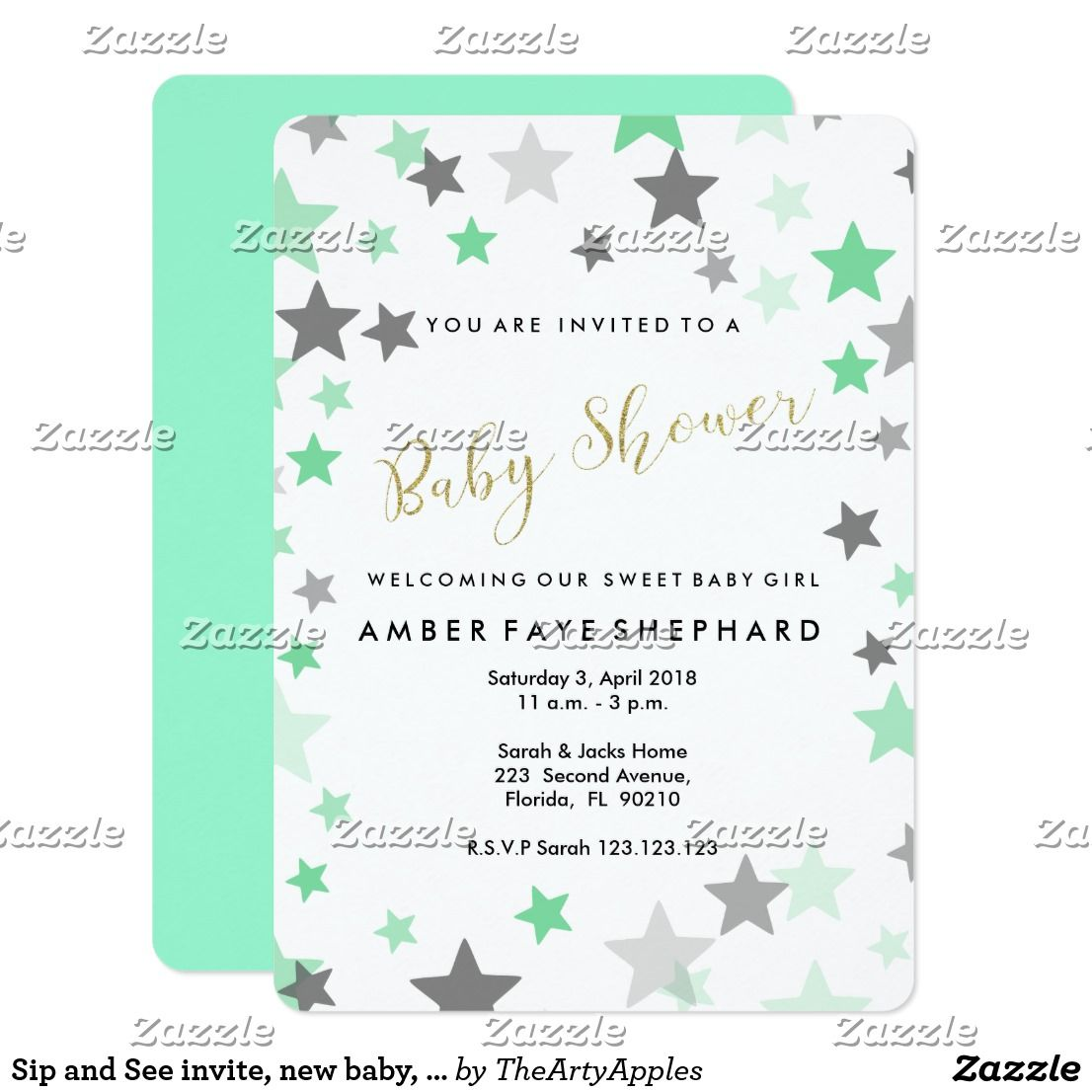 Sip and See invite, new baby, welcome party invitation Card custom ...