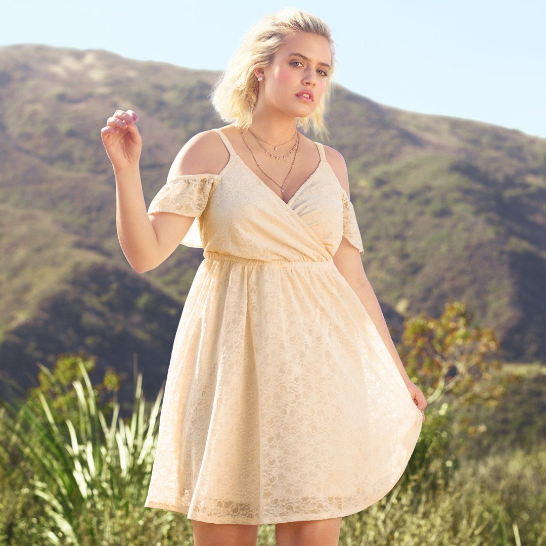 68aeaa0f500 Ivory Lace Cold Shoulder Skater Dress