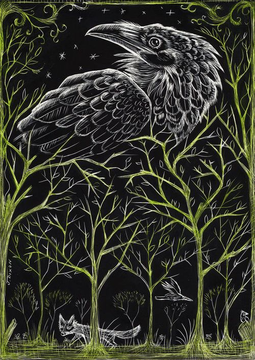 The Forest - Scratchboard by *BirdShadows
