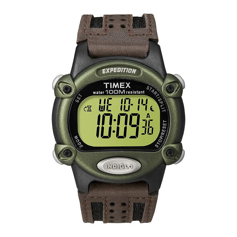 2462232d6acd Timex Expedition Mens Brown Leather Strap Digital Watch T480429J ...