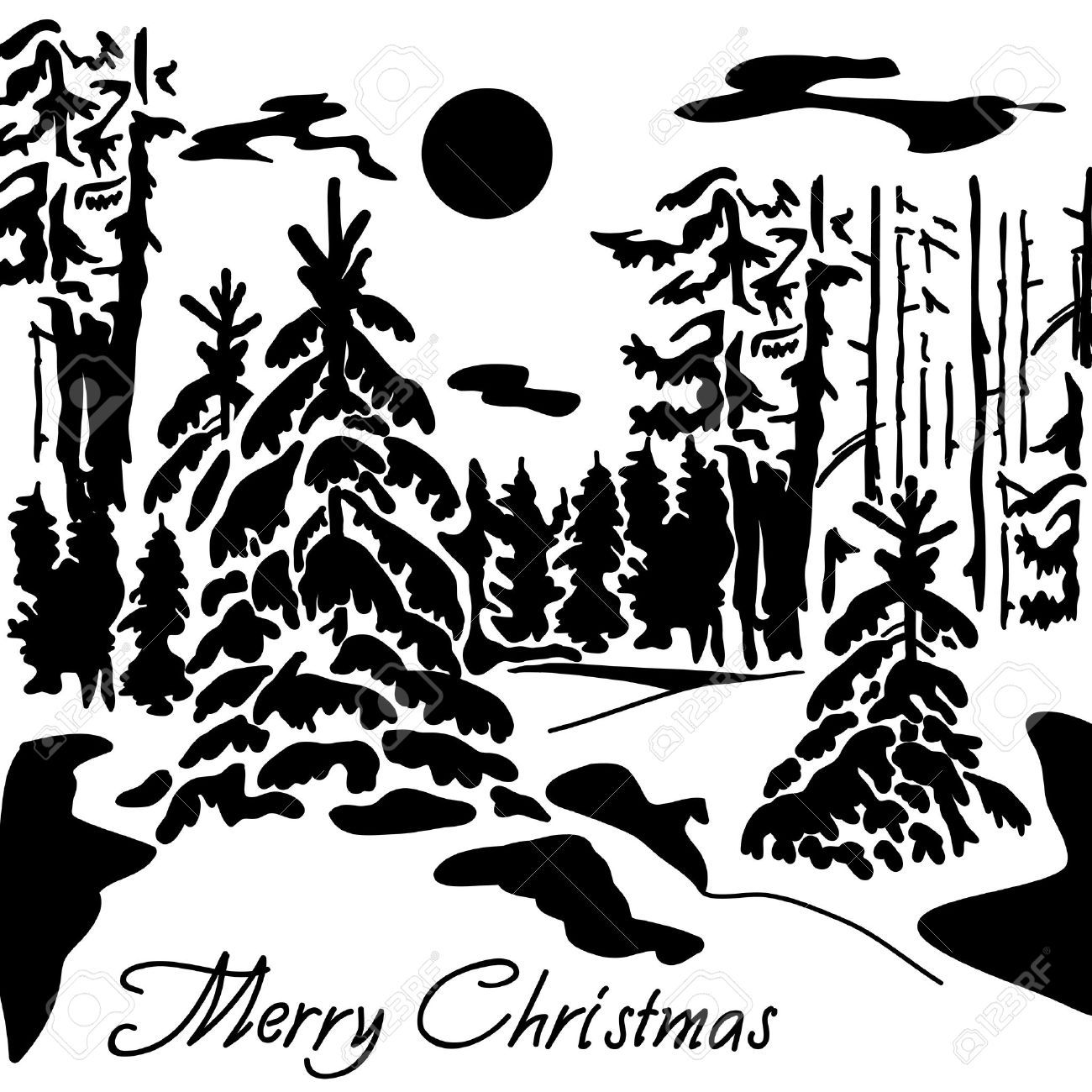 Stock Vector Christmas landscape, Black, white landscape