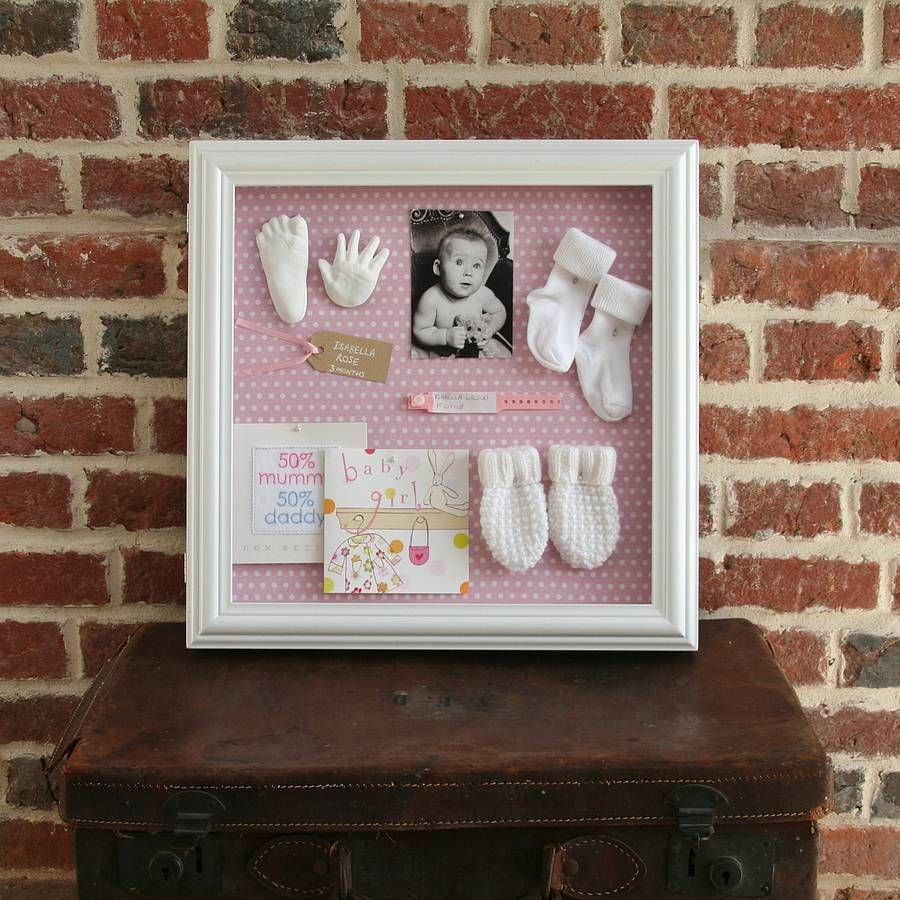 White shadow box with pink background - but with Lily\'s blessing ...