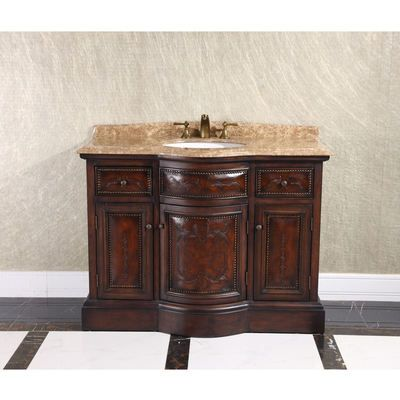 Infurniture Wb 2848l 48 Bathroom Vanity With A Marble Countertop And A Sink Thailand Oak Soild Wood With Leather Varving For The Doors And Drawers Vintage Bathroom Vanities Single Bathroom Vanity Vanity