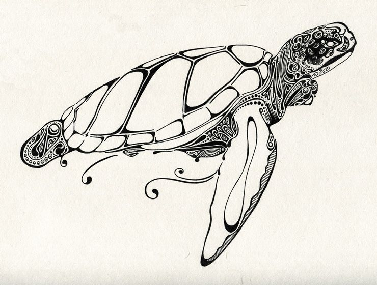 Sea Turtle... this would make a gorgeous tattoo!