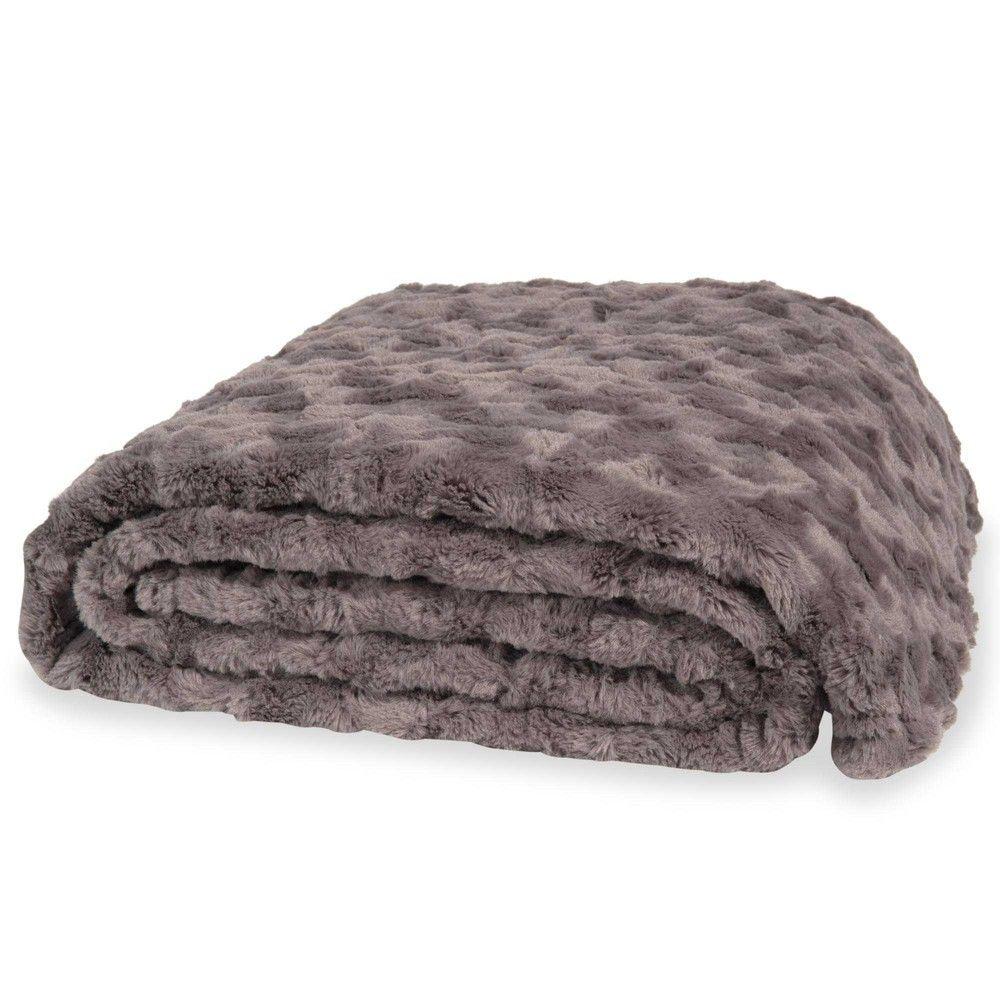 Colcha gris imitación piel 150 x 200 cm Camann | Colcha gris