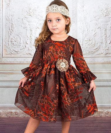 Loving this Brown Leaves Fit and Flare Dress - Toddler & Girls on #zulily! #zulilyfinds