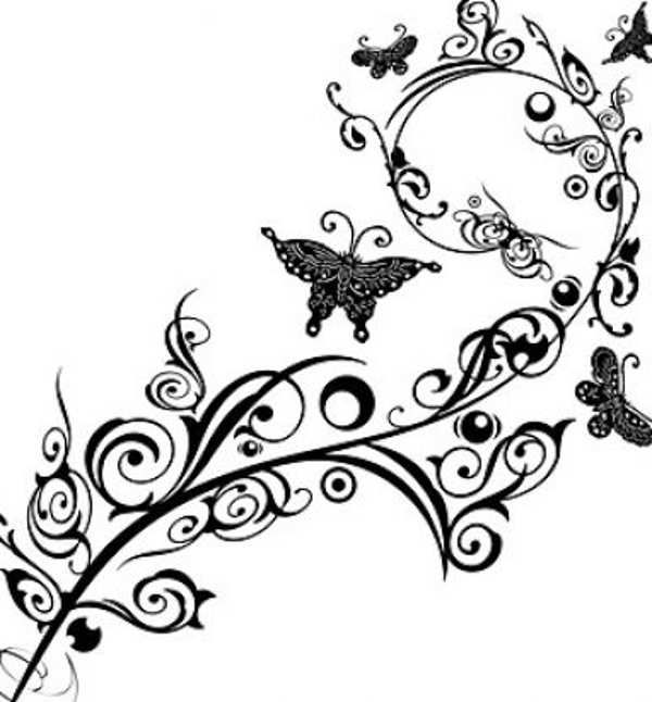 Flower black and white butterfly. Clip art flowers free