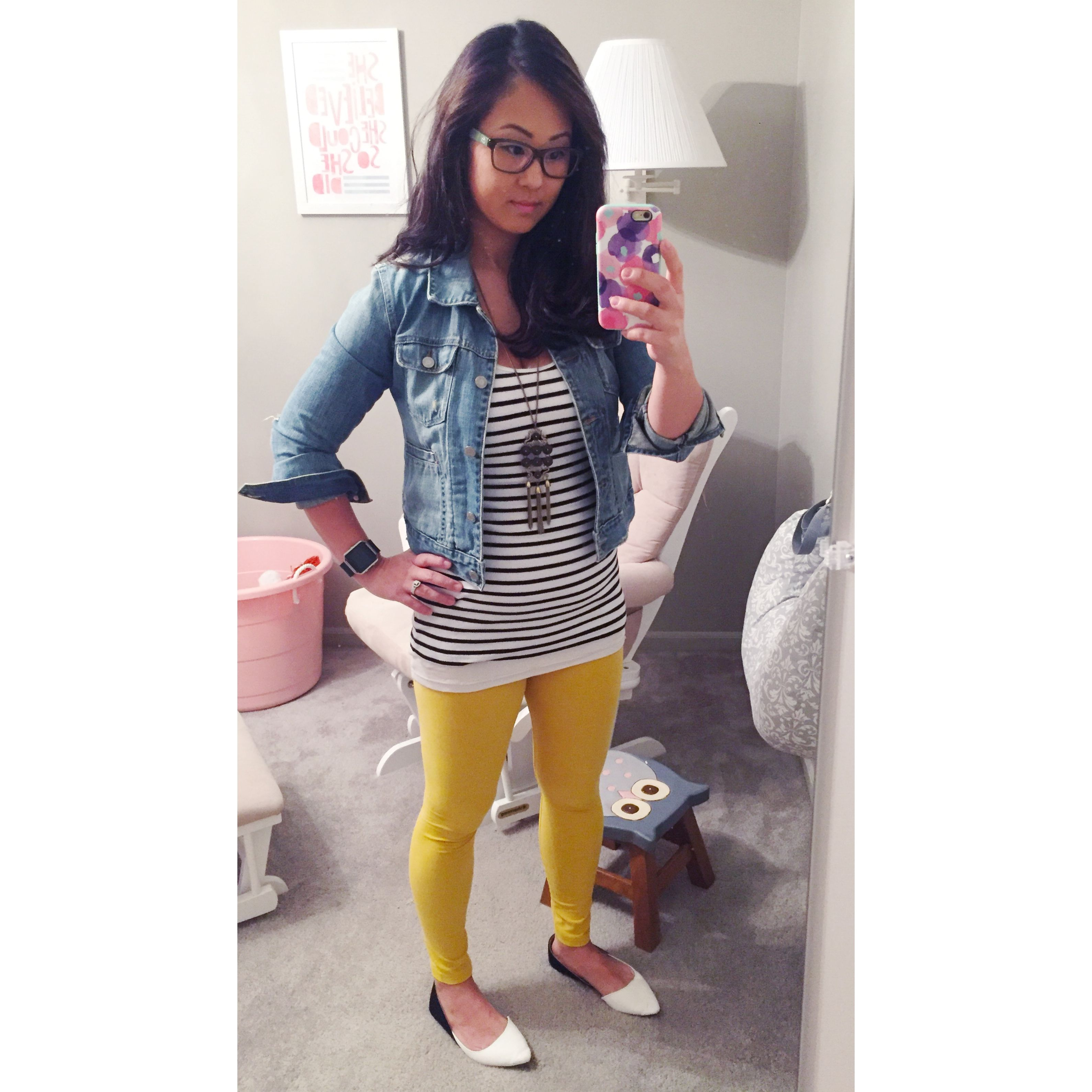 Fall fashion: Mustard LuLaRoe leggings with a striped tank and jean jacket.