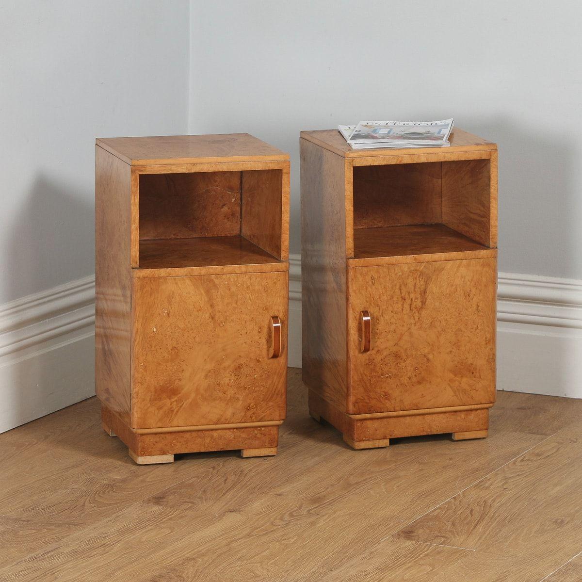 Antique Pair Of English Art Deco Birds Eye Maple Bedside Cabinets Circa 1930