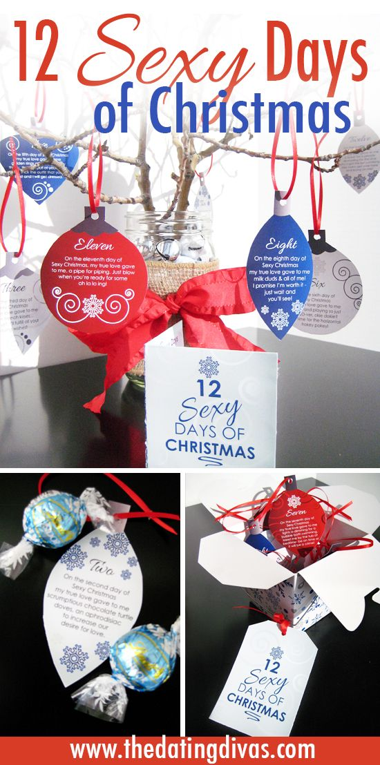 A Sexy Twist On The 12 Days Of Christmas Finally A Diy Gift I Know The Hubby Will Loove Includes A Free Download With Flirty Poems On Printable Ornaments