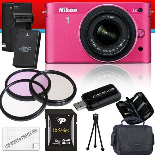 Nikon 1 J2 Mirrorless Digital Camera with 10-30mm VR Zoom Lens (Pink) 8GB Package by Nikon. $1000.00. Package Contents:  1- Nikon 1 J2 Mirrorless Digital Camera with 10-30mm VR Zoom Lens (Pink) with all supplied accessories 1- 8GB SDHC Class 10 Memory Card 1- Rechargeable Lithium Ion Replacement Battery 1- Rapid External Ac/Dc Charger Kit   1- USB Memory Card Reader  1- Weather Resistant Carrying Case w/Strap  1- Pack of LCD Screen Protectors  1- Camera & Lens...