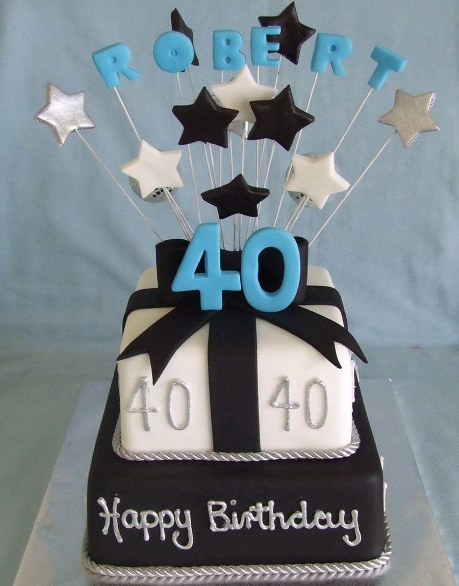 Black and White BIrthday Cake 40 Pinterest White birthday