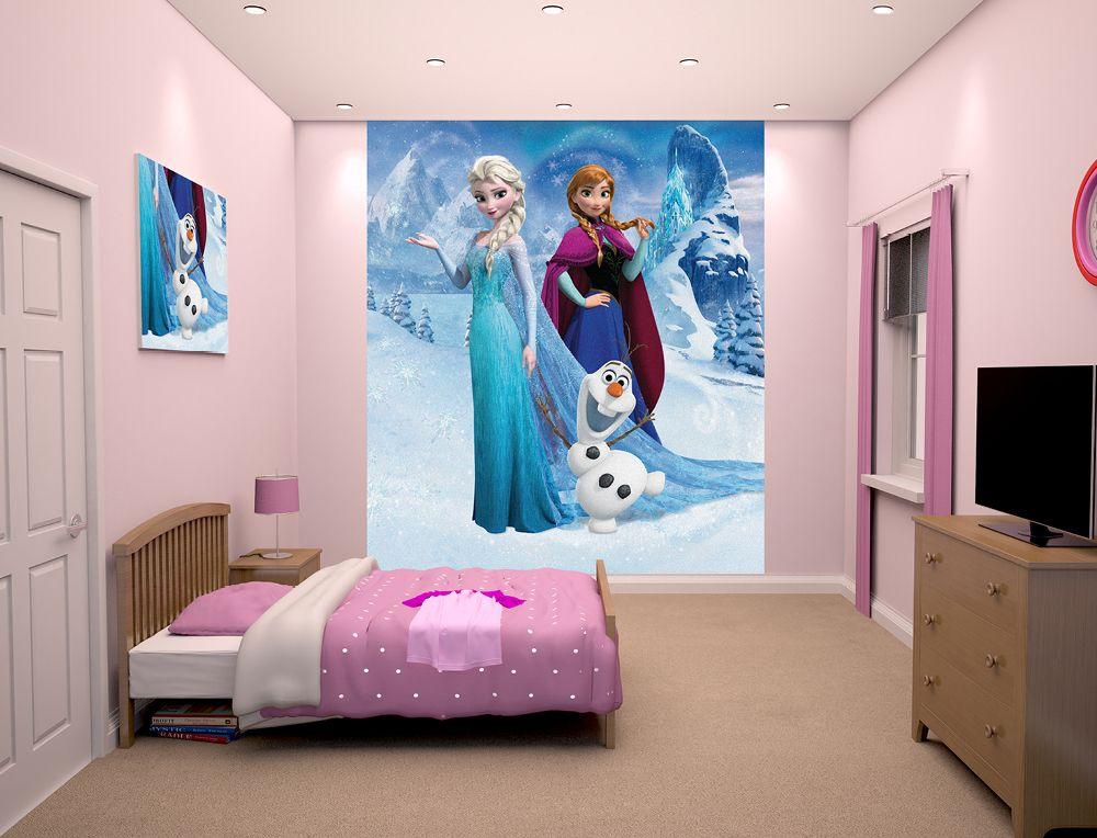 Kids Bedroom Disney Frozen Design Ideas For Age S With Flat Tv Wood ...