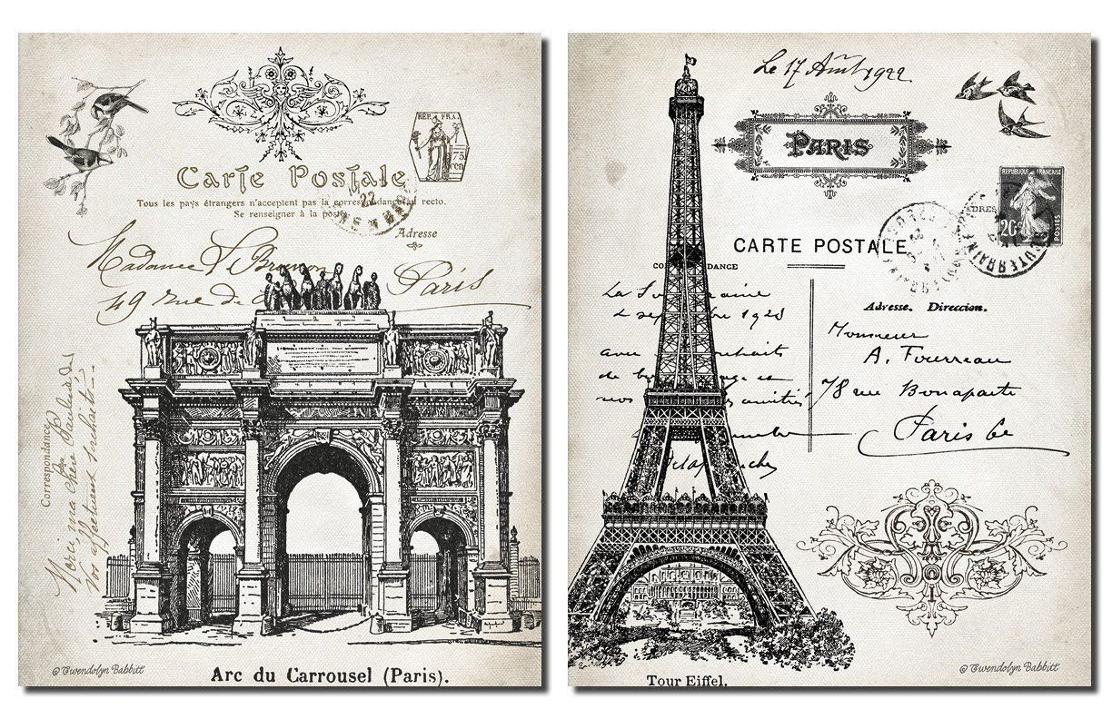 Wall Decor Beautiful Vintage Paris France Landmarks Arc De