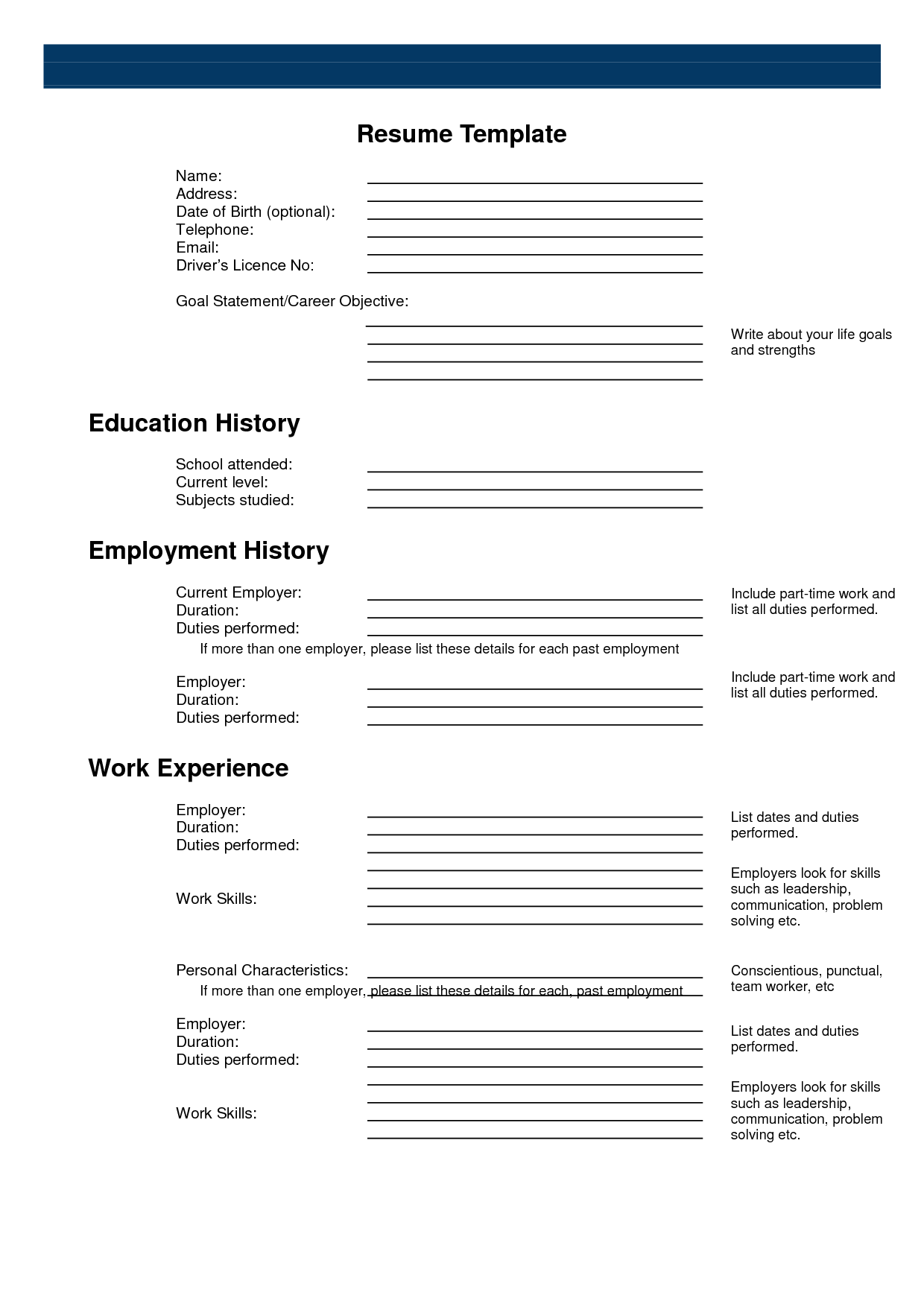 Free Fill In Resume Template Free Printable Sample Resume Templates  Httpwww.resumecareer .