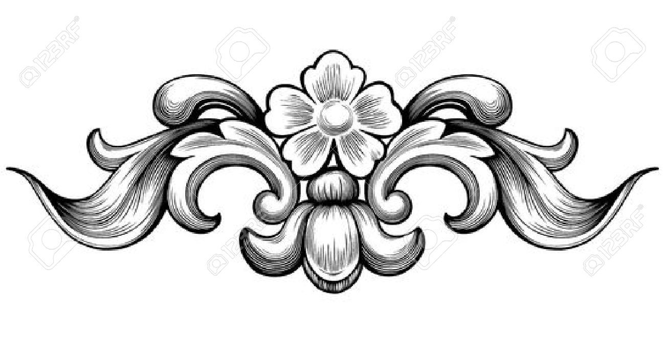 44234104 Vintage Baroque Floral Scroll Foliage Ornament Filigree Engraving Retro Style Design Element Vector St Ornament Drawing Baroque Ornament Engraving Art