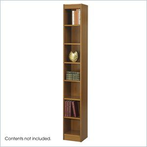 Safco 12 Inch Wide 7 Shelf Veneer Baby Bookcase In Medium Oak