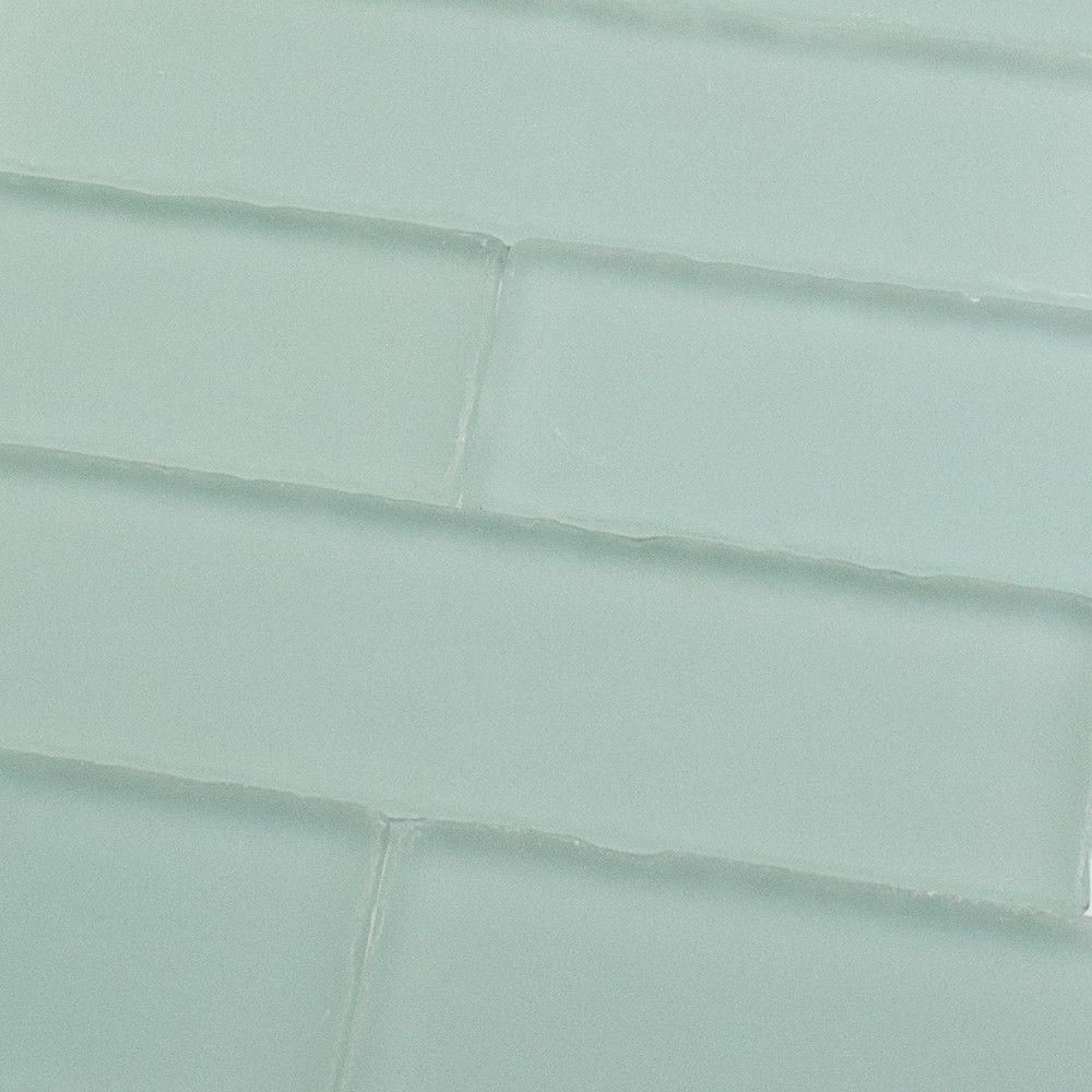 Splashback Tile Ocean Aqua Beached Frosted Glass Subway Tile - 2 in ...