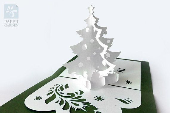 Papercut Template Pop Up Card Christmas Tree Instant Etsy In 2021 Pop Up Card Templates Easy Christmas Ornaments Christmas Cards