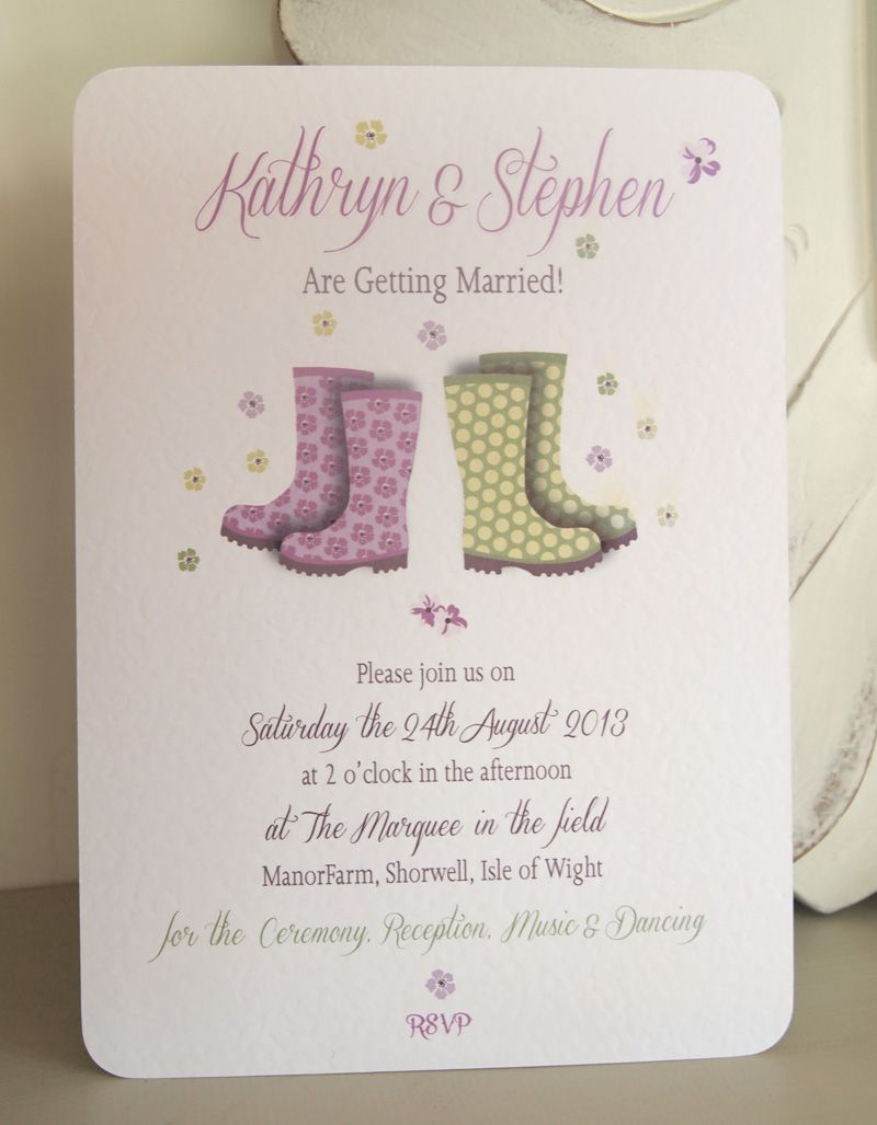 Wellington Boots Wedding Invitation - perfect for a Wedding in the ...