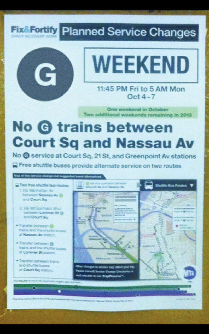 Announcement Poster From When The Mta G Train S Symbol Sign From The Rollsign Used To Be In The Color Grey Train How To Plan Announcement