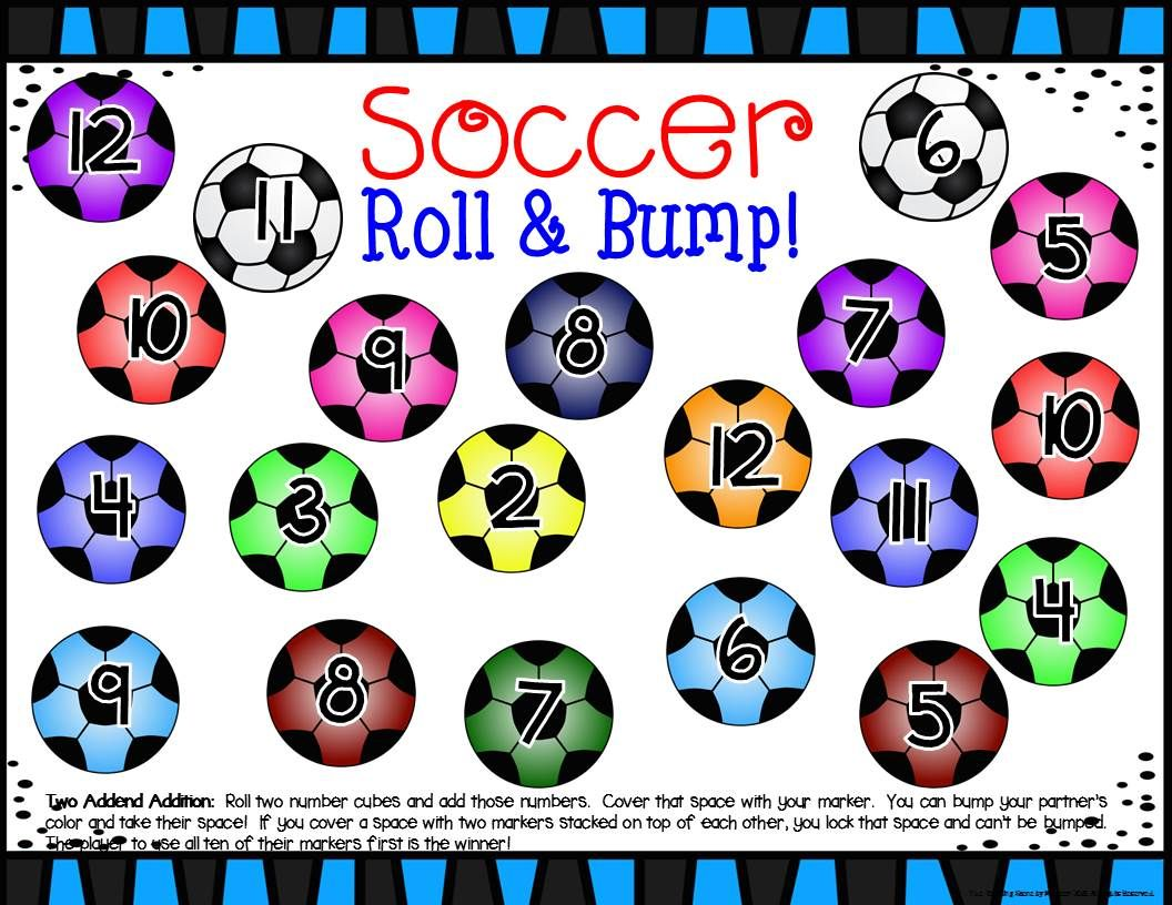 Soccer Math Center Dice Games For K 2nd Special Education