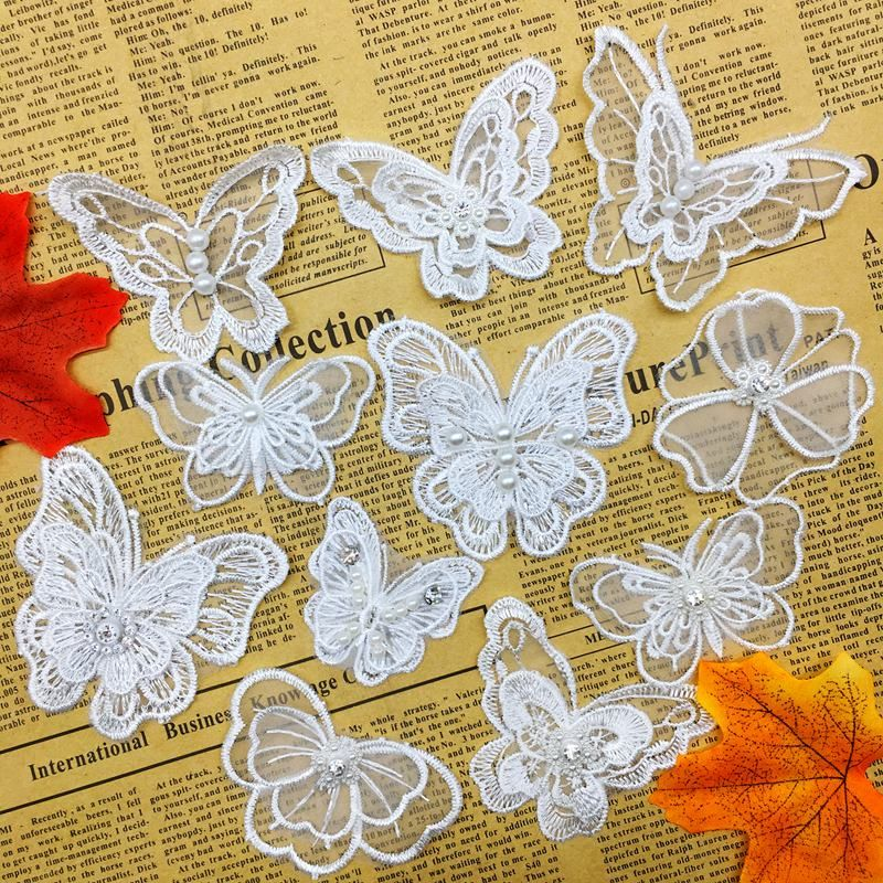 20pcs Butterfly Rhinestone Flower Lace Trim Ribbon Wedding Applique Sewing Craft