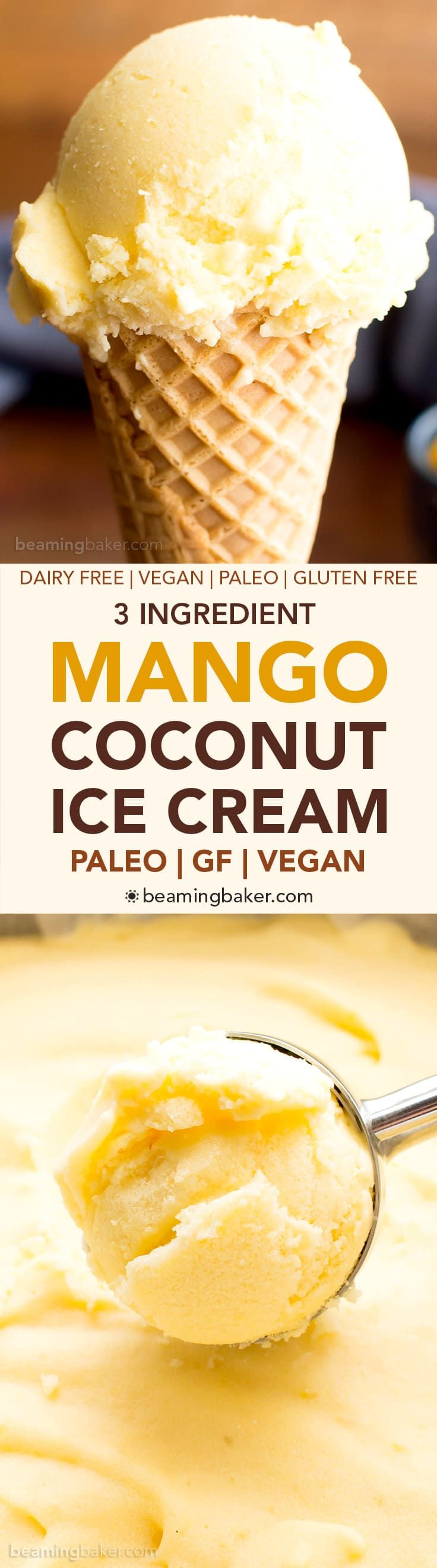 3 Ingredient Mango Coconut Vegan Ice Cream (V, DF, Paleo): an easy, no-churn recipe for deliciously creamy mango ice cream bursting with coconut flavor!