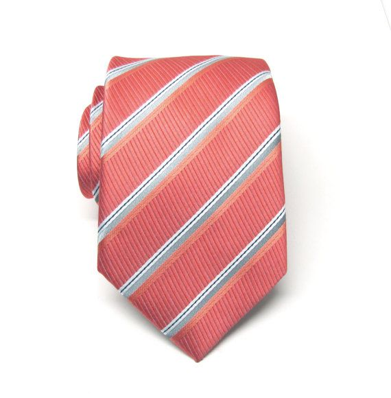 Mens Ties. Necktie Coral Gray Stripes Mens Tie by TieObsessed ...