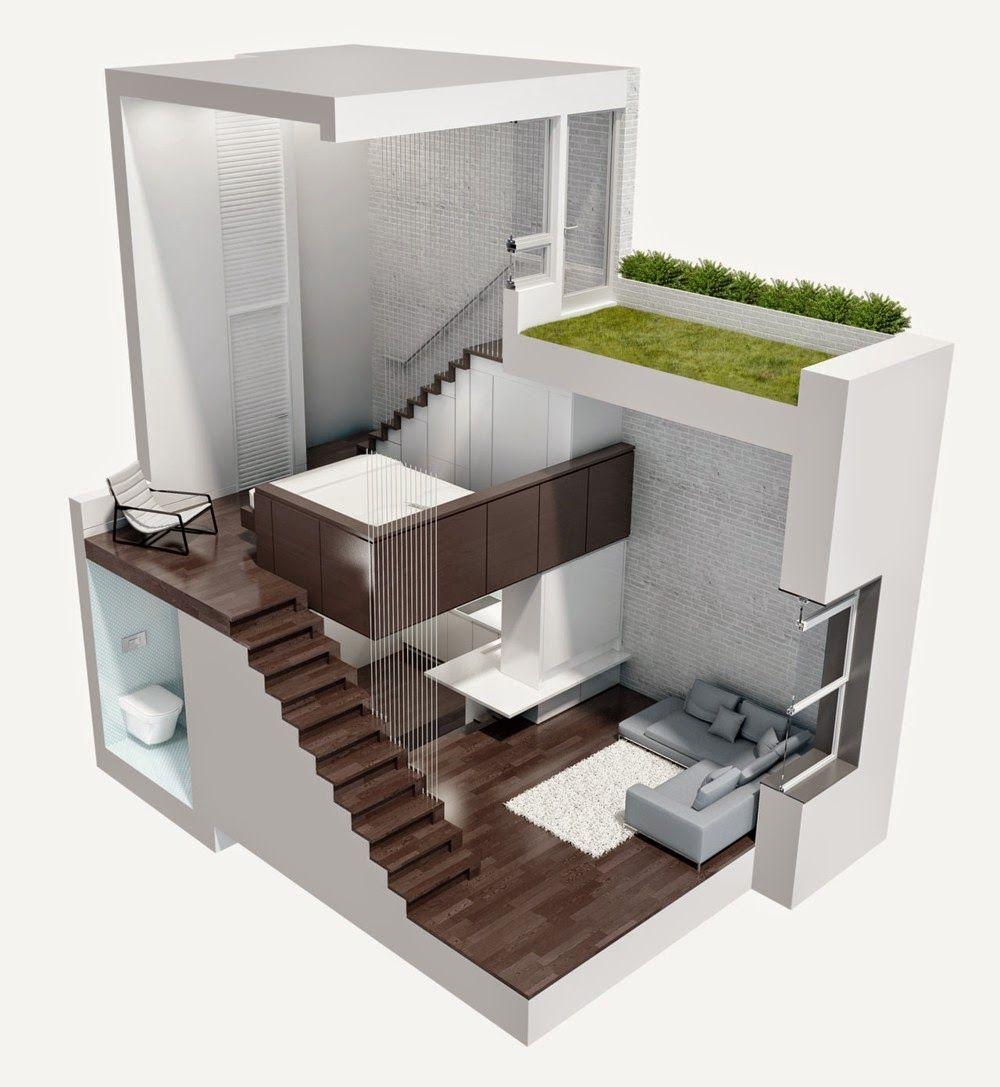 MICRO LOFT | Aménagement petit appartement, Plan maison, Espaces minuscules