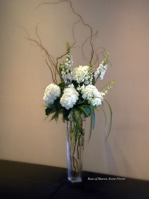 Tall Centerpiece: Hydrangeas, Delphinium, curly willow & grasses...  LOVE THIS!!