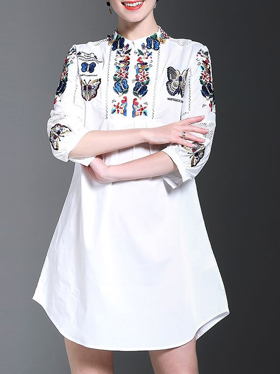 Buy it now. White Butterfly Embroidered Shift Dress. White Round Neck Half Sleeve Polyester Shift Short Embroidery Fabric has no stretch Summer Casual Day Dresses. , vestidoinformal, casual, camiseta, playeros, informales, túnica, estilocamiseta, camisola, vestidodealgodón, vestidosdealgodón, verano, informal, playa, playero, capa, capas, vestidobabydoll, camisole, túnica, shift, pleat, pleated, drape, t-shape, daisy, foldedshoulder, summer, loosefit, tunictop, swing, day, offtheshoulder,...