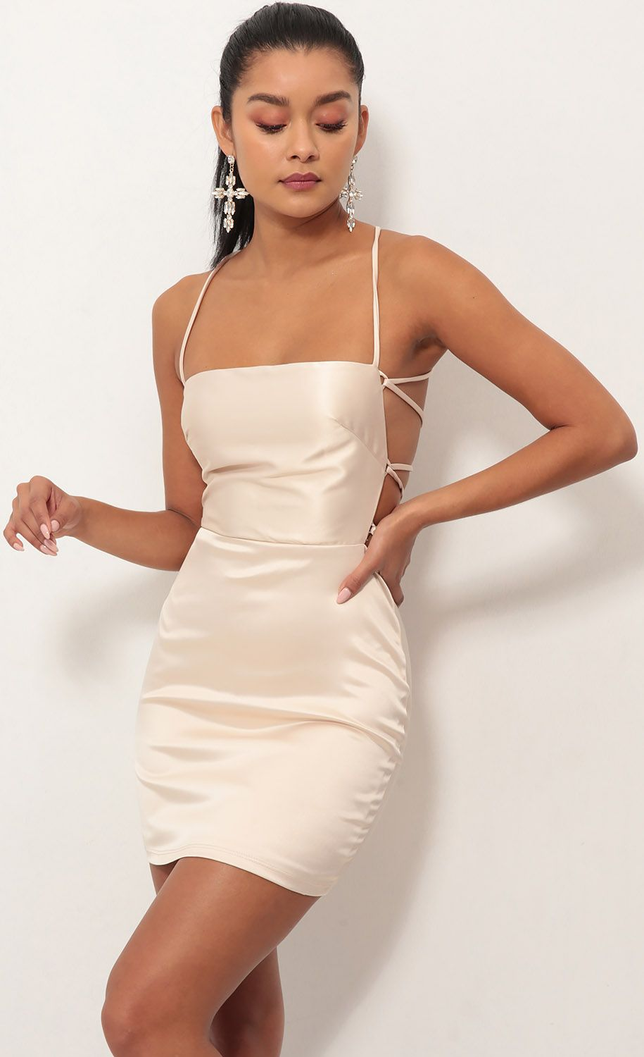 669bb963 Party dresses > Lulu Satin Lace-up Dress in Champagne | Reflections ...