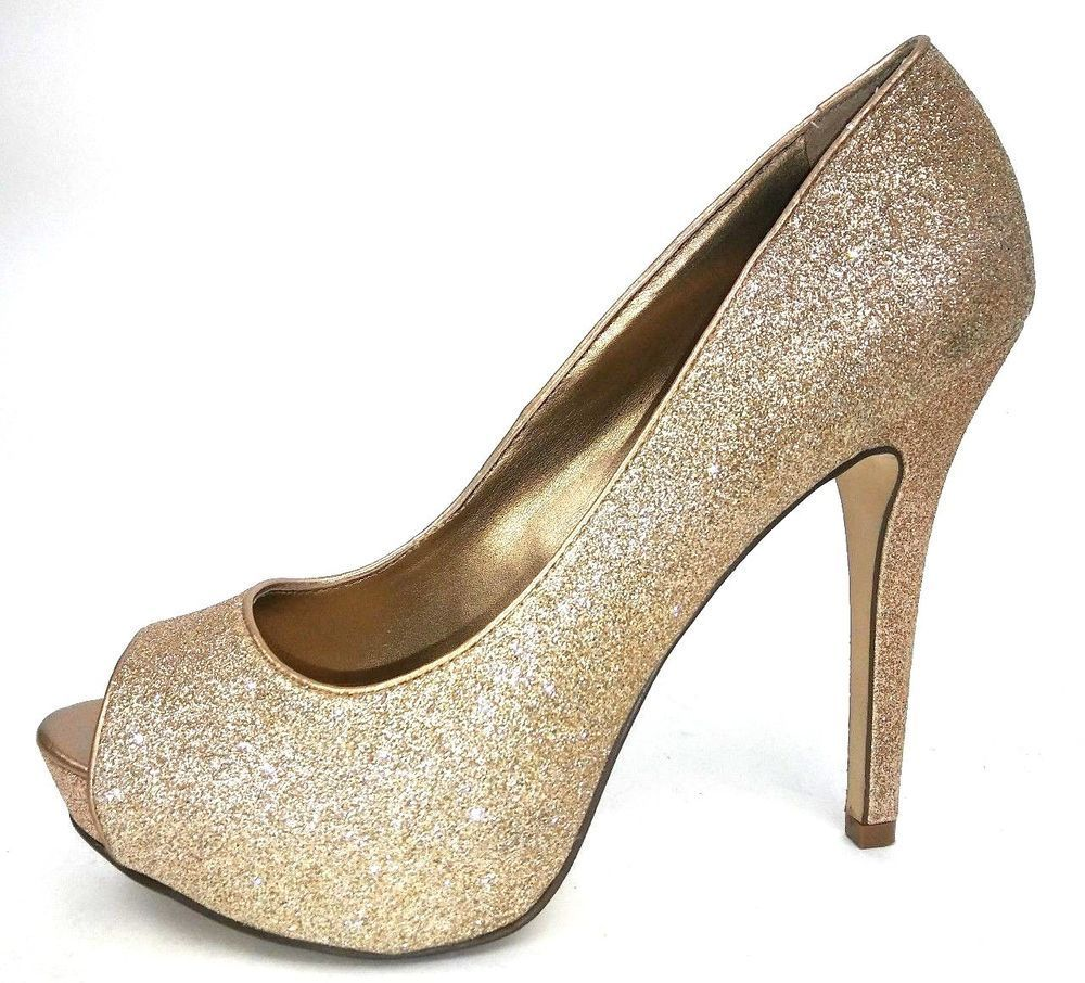 24b014e5d3a Aldo Women s Platform High Heels Size 38 US 7 Gold Glitter Peep Toe Pumps   Aldo  PumpsClassics