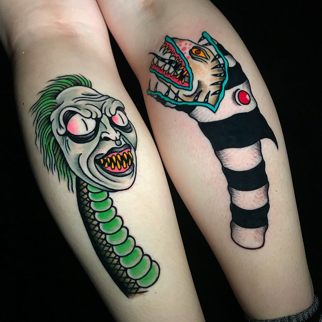 It S Showtime Beetlejuice Beetlejuicesnake Sandworm Michaelkeaton Timburton Horror Horrortattoo Monste Beetlejuice Tattoo Movie Tattoos Monster Tattoo