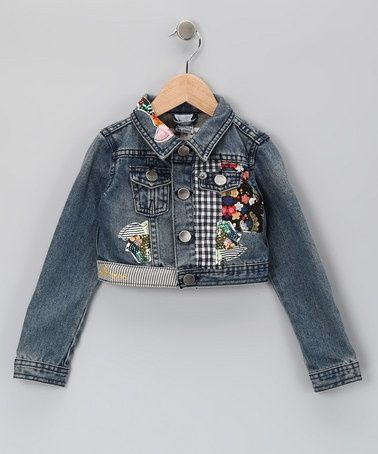 Kids Girls Floral Lace Button Denim Jacket Little Girls Long Sleeve Denim Jacket Coats Outerwear Tops