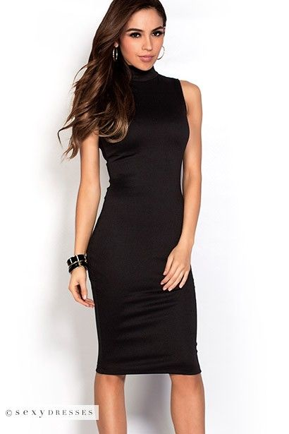 Midi Bodycon High Neck Sleeveless Black Dress with Exposed Zipper   PinYourWish  shopsexydresses 338b7c2ba