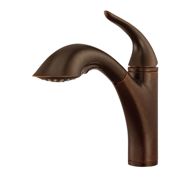 Danze d455021br tumbled bronze pullout spray kitchen