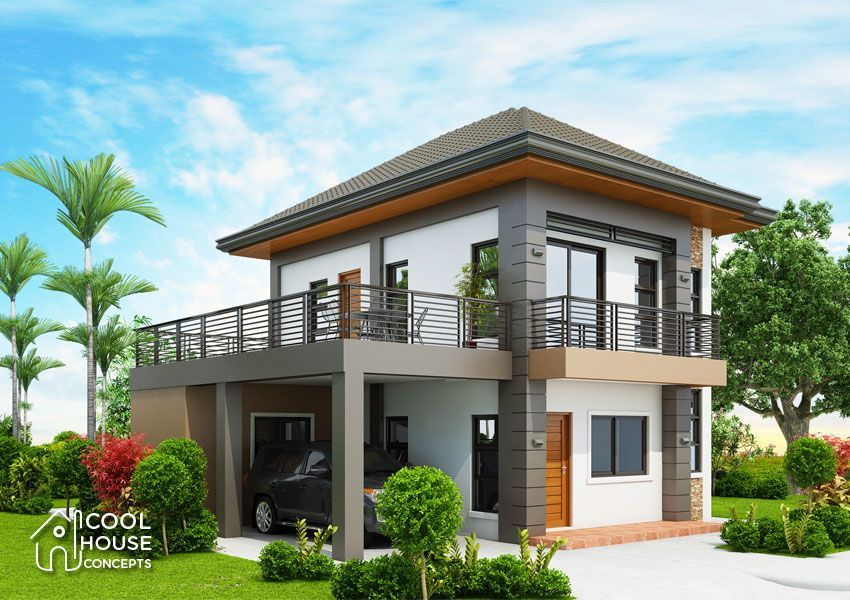 Three Bedroom Contemporary House With Spacious Terrace Cool House Concepts Small House Design Plans Double Storey House Plans House Design