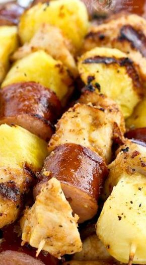 Chicken Pineapple Sausage Kabobs Bbq Skewers And Brochettes