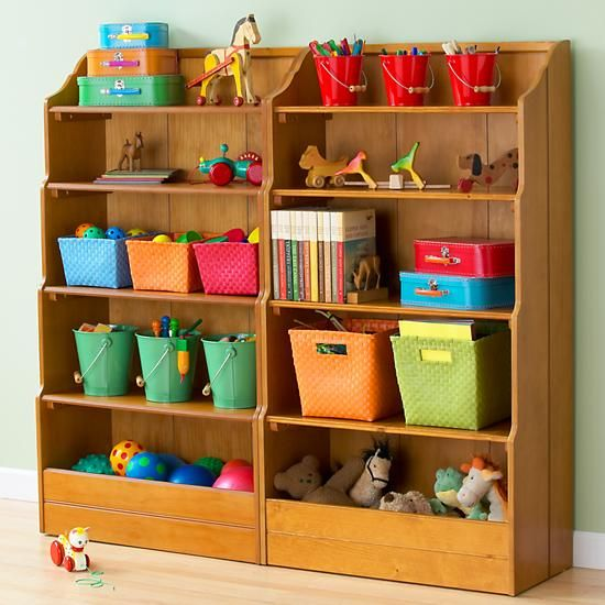 The Land Of Nod Kids Honey Wooden Storage Open Top Bookcase