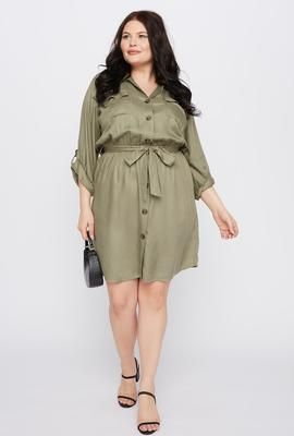 Photo of Plus Size Button-Up Shirt Dress – Charlotte Russe