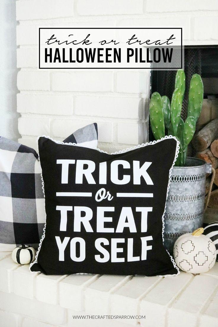 Trick Or Treat Halloween Pillow Halloween pillows, DIY Halloween - black and white halloween decorations