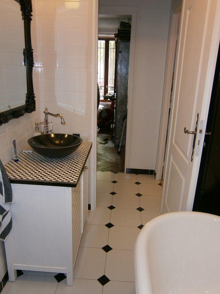 Salle de bain avec carrelage noir et blanc salle de bain pinterest - Carrelage salle de bain noir ...